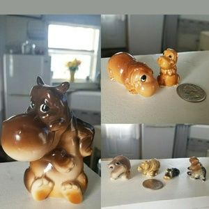 Vintage Hippo Hippopotamus Porcelain Ceramic Lot